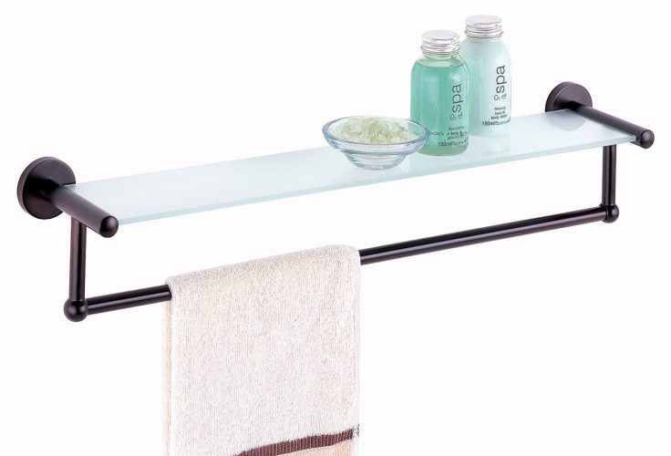 The All Oil Rubbed Glass Shelve with Towel Bar by Organize It All- bathroom shelves