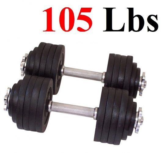 The One Pair Cast Iron 105 lbs Adjustable Dumbbell