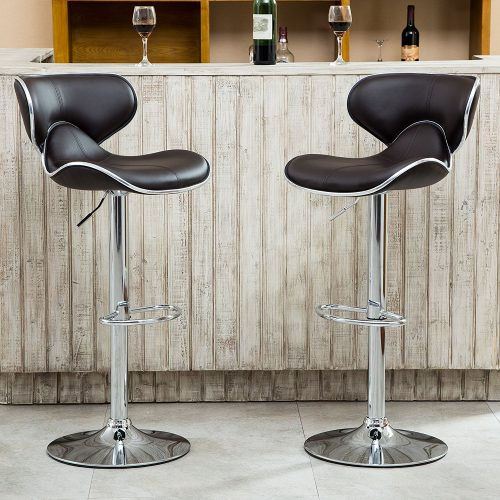The Roundhill Chrome Air Lift Adjustable Swivel Stool-bar-stool-sets