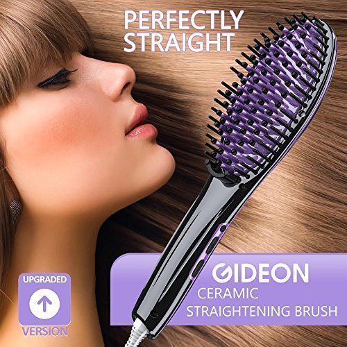 Gideon Heated Hair Brush Straighteners – Innovative Hair Straightener / Get Salon Quality Straight Hair in…