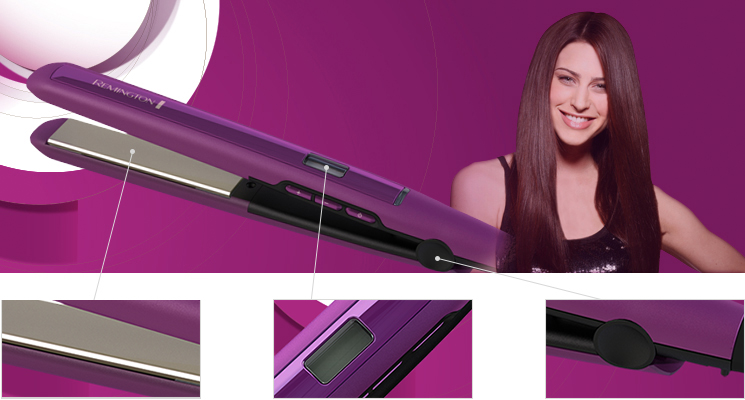 Remington S5500 Digital Anti Static Ceramic Hair Straighteners, 1-Inch, Purple