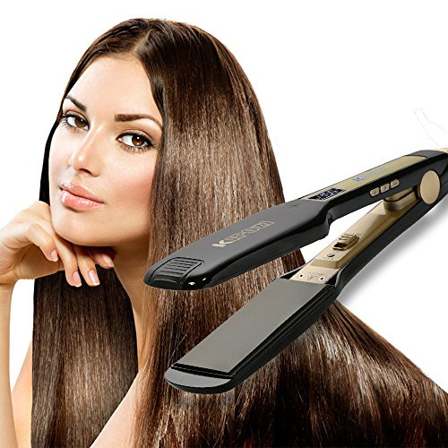 KIPOZI Professional Titanium Hair Straighteners Flat Iron with Digital LCD Display ,Dual Voltage,Instant