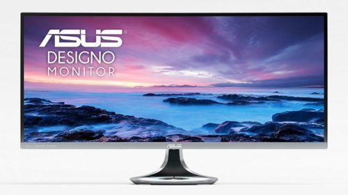 """ASUS Designo Curved MX34VQ 34"""" UWQHD 100Hz DP HDMI Eye Care Frameless Monitor with Adaptive-Sync - Touch Screen Monitor"""