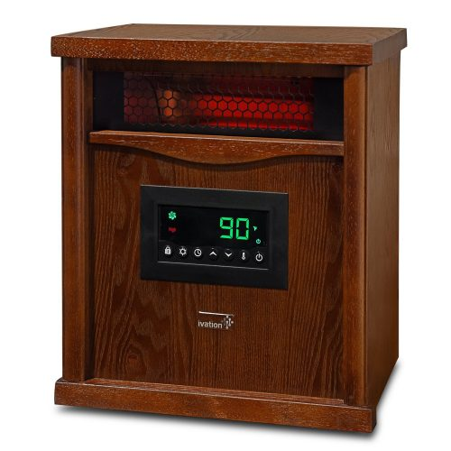 Ivation Portable Electric Space Heater, 1500-Watt 6-Element Infrared Quartz Mini Heater with Digital Thermostat, Remote Control, Timer & Filter - Infrared Heater