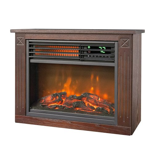 Lifesmart Large Room Infrared Quartz Fireplace in Burnished Oak Finish w/Remote - Infrared Heater