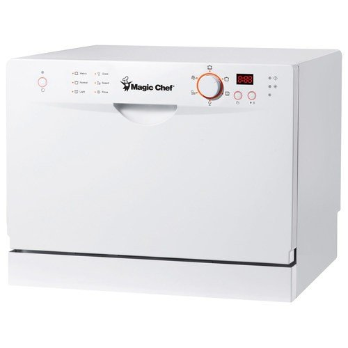 Magic Chef MCSCD6W3 6 Place Setting Countertop Dishwasher, White - Countertop Dishwasher
