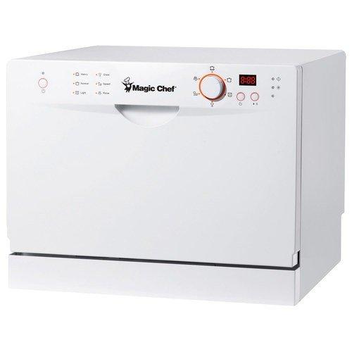 Magic Chef MCSCD6W3 6 Place Setting Countertop Dishwasher, White - Countertop Dishwasher