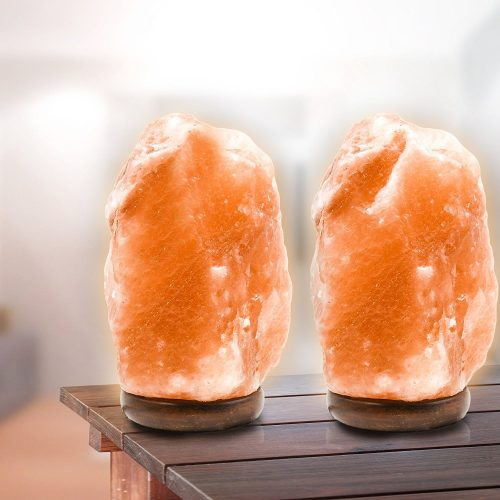 2 Pack Natural Crystal Himalayan Salt Lamp, Himalayan Glow Hand Carved Natural With Genuine Wood Base, Bulb Dimmer Control, Amber, 6 to 8 Inch, 6 to 7 lbs. By Makony - Best Himalayan Salt Lamps