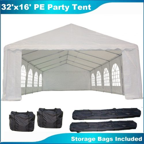 32'x16' PE Party Tent White - Heavy Duty Wedding Canopy Carport Shelter - with Storage Bags - By DELTA Canopies - Party Tents