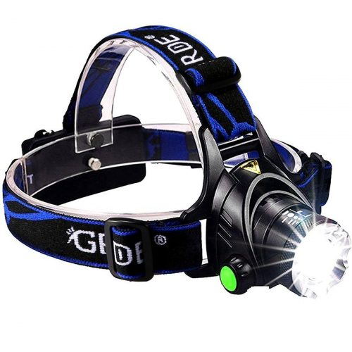 GRDE Zoomable 3 Modes Super Bright LED Headlamp With Rechargeable Batteries, Car Charger, Wall Charger, And USB Cable