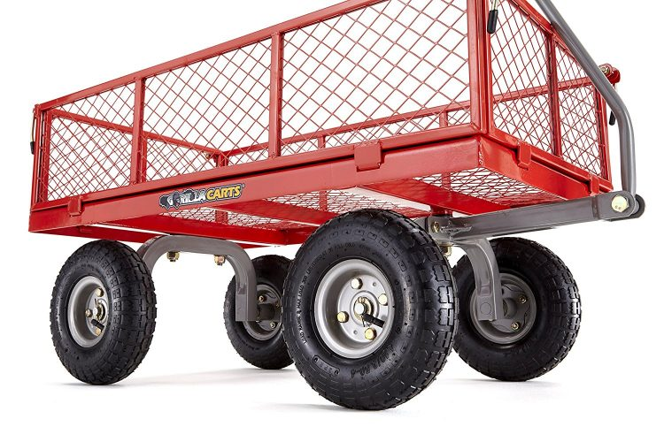 Gorilla Carts Steel Utility Cart with Removable Sides with a Capacity of 800 lb, Red-Garden Carts