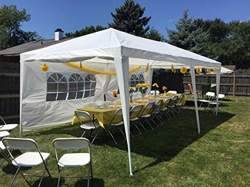Quictent 10' x 20' Outdoor Gazebo Canopy Wedding Party Tent with 6 Removable Sidewall & Elegant Church Window - Party Tents