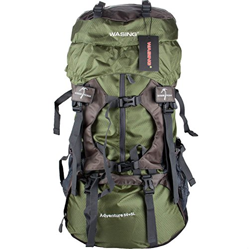 WASING 55L Internal Frame Backpack Hiking Backpacking Packs for Outdoor Hiking Travel Climbing Camping Mountaineering with Rain Cover WS-55Lpack - External frame pack