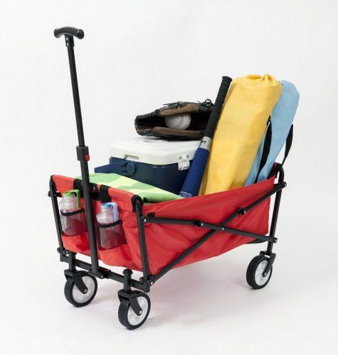 YSC Wagon Garden Folding Utility Shopping Cart, Beach Red (Red)