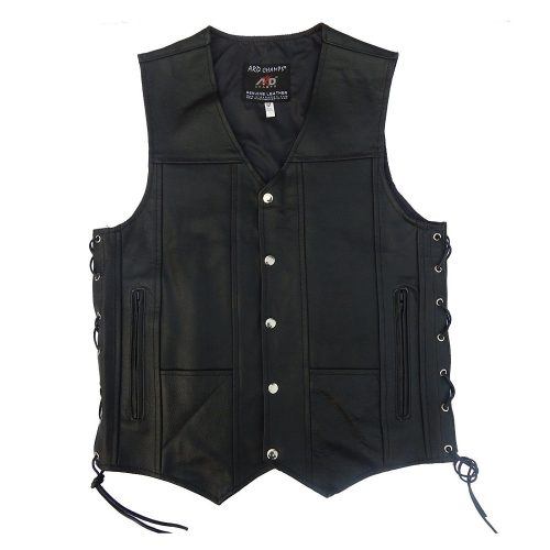 ARD CHAMPS Men's Leather 10 Pockets Motorcycle Biker Vest - Motorcycle Vest for Men