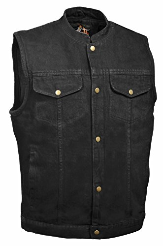 Men's Snap Front Denim Club Style Vest w/ Gun Pocket (Black) - Motorcycle Vest for Men