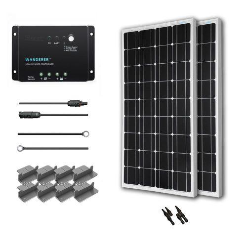 Renogy 200 Watt 12 Volt Monocrystalline Solar Starter Kit with Wanderer - Monocrystalline Solar Panels