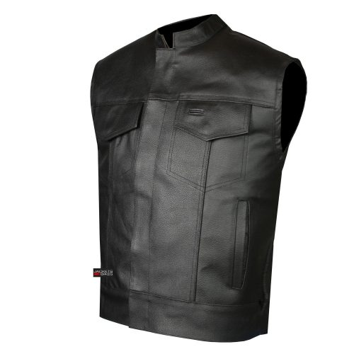 SOA Men's Leather Vest Anarchy Motorcycle Biker Club Concealed Carry Outlaws - Motorcycle Vest for Men