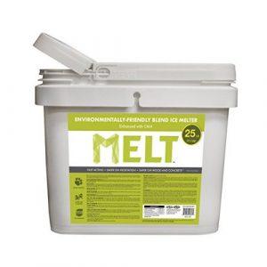 Snow Joe MELT25EB-BKT 25-lb Flip-Top Bucket W/Scoop Melt Premium Environmentally + Pet-Friendly Blend Ice Melt - Ice Melters