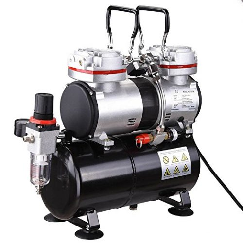 AW Pro 1/3 HP Twin-cylinder Airbrush Compressor 3-7 Bar 3.5L Air Tank For Decorating Body Art - Airbrush Compressors