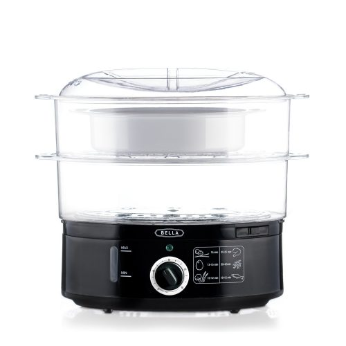 BELLA 7.4 Quart Healthy Food Steamer, Dual Basket - Electric Vegetable Steamers