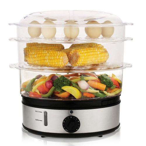 Homdox HM5159 Healthy Food Steamer with Timer, 9.5 Quart 3-Tier Electric Steamer 800W - Electric Vegetable Steamers