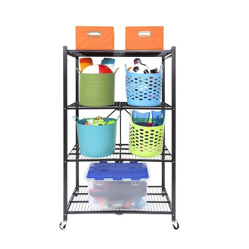 Origami R1407WL2-BLA 4 Tier Steel Collapsible Storage Rack - collapsible storage rack