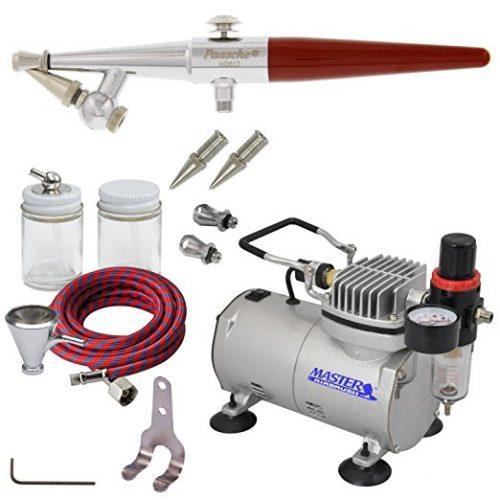 PAASCHE H AIRBRUSH SET w/Quiet AIR BRUSH COMPRESSOR - Airbrush Compressors