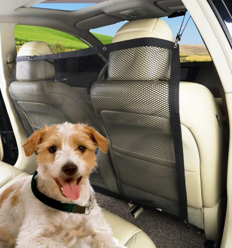 PAWOAH Pet Dog Car Net Barrier Backseat Mesh for Vehicle, Keep Pets Off the Front Seat Fit Cars/Vans/SUV's/Trucks (115X62CM) - Dog Car Barriers