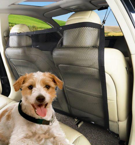 PAWOAH Pet Dog Car Net Barrier Backseat Mesh for Vehicle, Keep Pets Off the Front Seat Fit Cars/Vans/SUV's/Trucks (115X62CM) - Dog Car Barriers