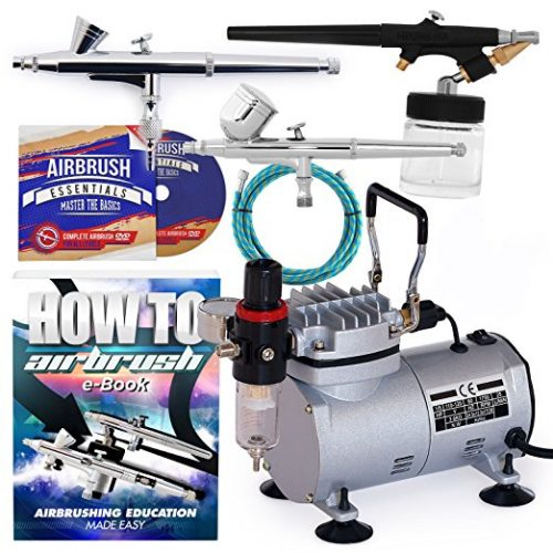 PointZero Airbrush Dual Action Airbrush Kit with 3 Guns - Airbrush Compressors