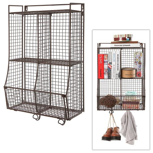 Wall Mounted / Collapsible Brown Metal Wire Mesh Storage Basket Shelf Organizer Rack w/ 2 Hanging Hooks - collapsible storage rack