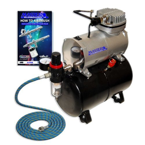 NEW Quiet 1/6 hp MASTER AIRBRUSH TANK COMPRESSOR-(FREE) AIR HOSE and Now a (FREE) How to Airbrush Training Book to Get You Started, Published Exclusively By TCP Global-Airbrush Kits