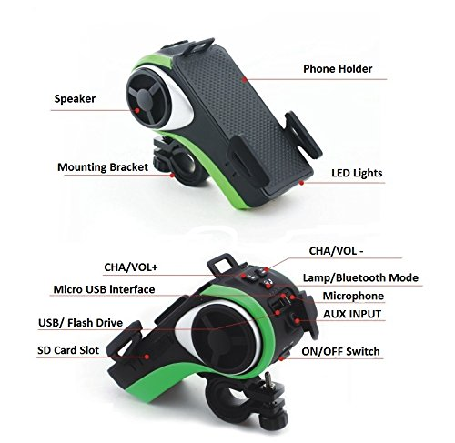 Bikonnect All (10)-In-1 Bike Speaker - Phone Mount Bluetooth Phone Answering Audio MP3 Player Phone Charger Bicycle LED Light Micro SD Card /USB Slot Aux Input Waterproof