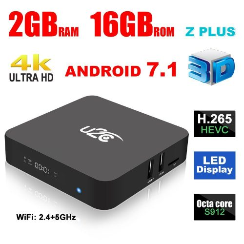 Android 7.1 Smart TV Box U2C Z Plus Amlogic S912Octa Core 2GB RAM 16GB ROM 4K Ultra HD H.2652.4G 5G Dual-Band Wifi with LED Display Gigabit1000M LAN Ethernet
