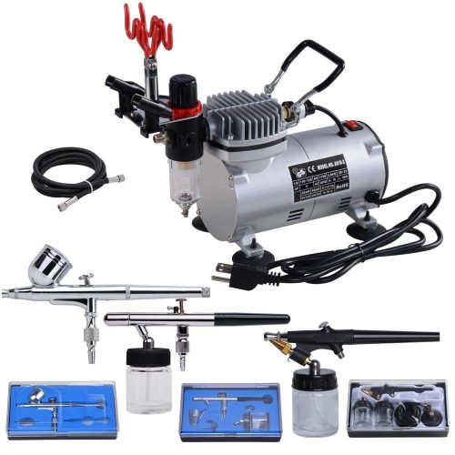 AW 3 Multi-purpose Professional Airbrush Kit Compressor Dual-action Spray Air Brush Set Tattoo Nail Art