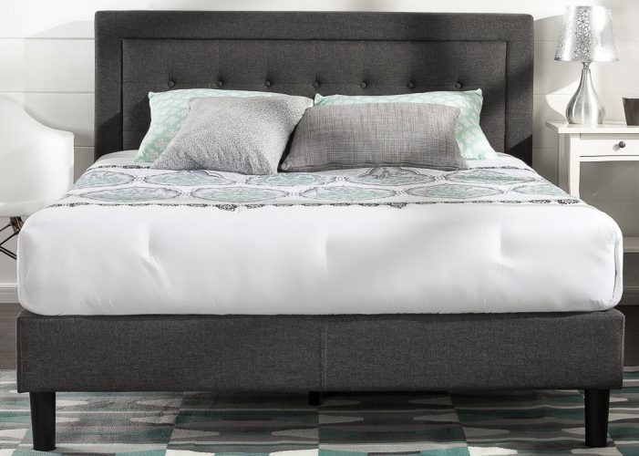 Zinus Upholstered Button Tufted Premium PlatformBed with less than 3 Inch spacing Wooden SlatSupport