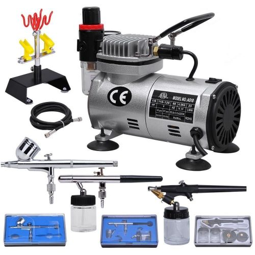 Multi-purpose Professional Airbrush Kit with 3 Dual-action Spray Airbrushes & Compressor & 6'; Air Hose & Brush Holder Ta