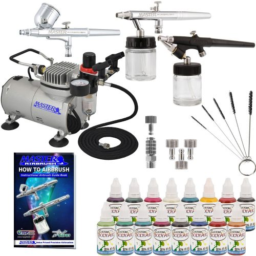 Master Airbrush ABD KIT-WBFP- 16-20 Art Professional Airbrush Face and Body Art Paint Airbrushing System Kit with Standard Compressor (09 Items)