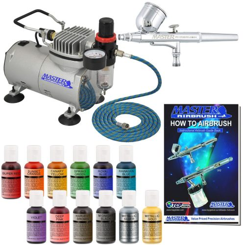PointZero Professional Airbrush Cake Decorating Set - 12 Chefmaster Colors