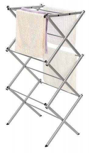 "StorageManiac 3-tier Folding Anti-Rust Compact Steel Clothes Drying Rack - 22.44""x14.57""x41.34"""