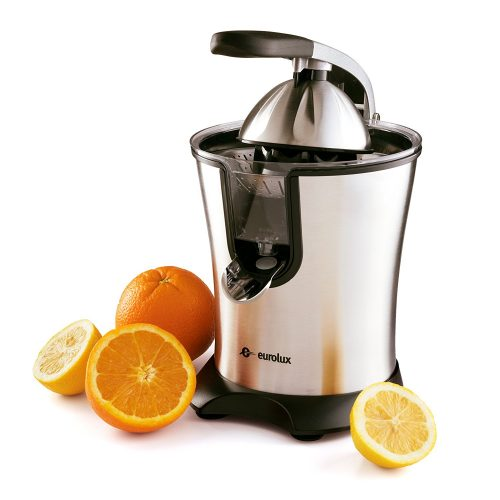 Eurolux Electric Citrus Juicer Stainless Steel 160 Watts of Power Soft Grip Handle and Cone Lid for Easy Use
