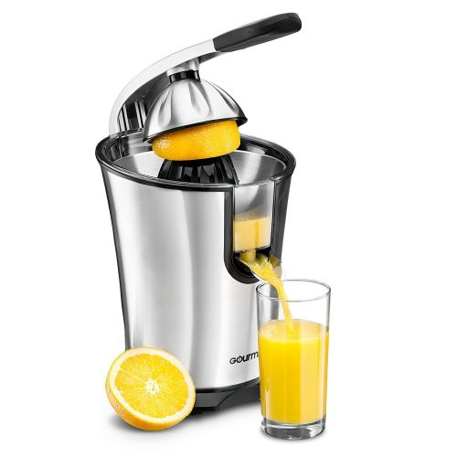 Gourmia EPJ100 Electric Citrus Juicer Stainless Steel 10 QT 160 Watts Rubber Handle and Cone Lid For Easy Use One-Size-Fits-All Juice Cone for Easy Storage. - 110V