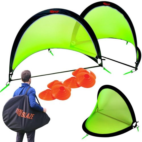 Pop Up Soccer Goal Set of 2 | Portable Kids Soccer Goals for Backyard with Carry Bag | 8 Disc Soccer Cones Extra Metal Pegs | Strongest Kids Soccer Goal Net (Choose 4 or 6ft Size | Green or White Net)
