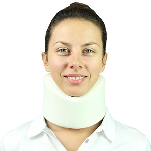 Neck Brace by Vive - Cervical Collar - Adjustable Soft Support Collar Can Be Used During Sleep - Wraps Aligns & Stabilizes Vertebrae - Relieves Pain & Pressure in Spine (4 Inch) (Black)