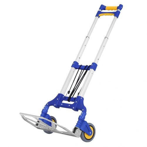 Finether Cart 176 lbs Capacity Multi-Functional Aluminum Folding Hand Truck and Dolly for Indoor Outdoor Travel Shopping Office, Blue