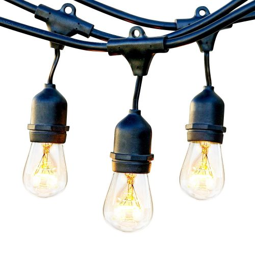 Brightech Ambience Pro Waterproof Outdoor String Lights with Hanging Sockets - 48 Ft Market Cafe Edison Vintage Bistro Commercial Grade Strand for Patio