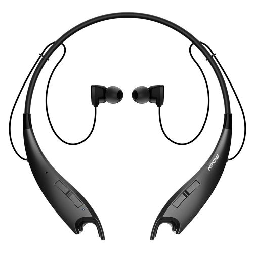 Mpow Jaws V4.1 Bluetooth Headphones Wireless Neckband Headset Stereo Noise Cancelling Earbuds w/ Mic-Black