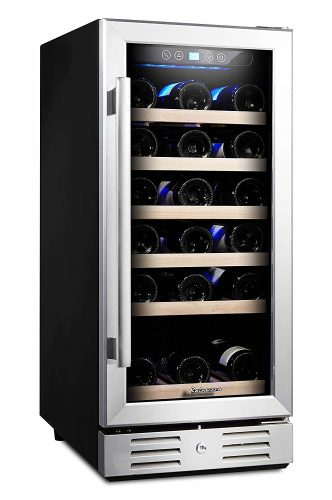 Kalamera 15'' Wine Cooler 30 Bottle Built-in or Freestanding with Stainless Steel & Double-Layer Tempered Glass Door and Temperature Memory Function - wine coolers