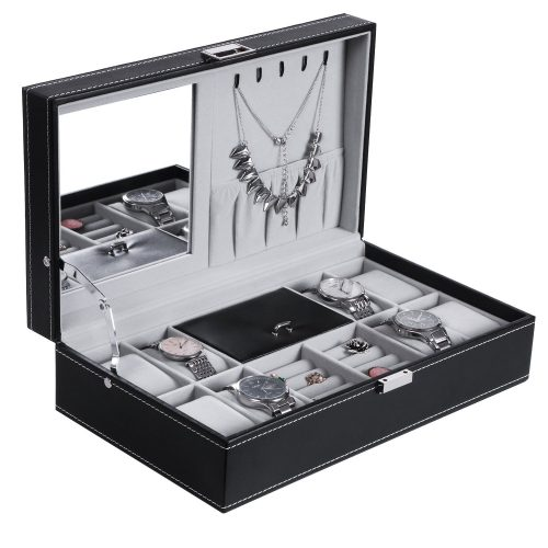 BEWISHOME Jewelry Box 8 Watch Box Organizer 2-in-1 Storage Show Case Display Metal Hinge Mirrored Black PU Leather SSH05B